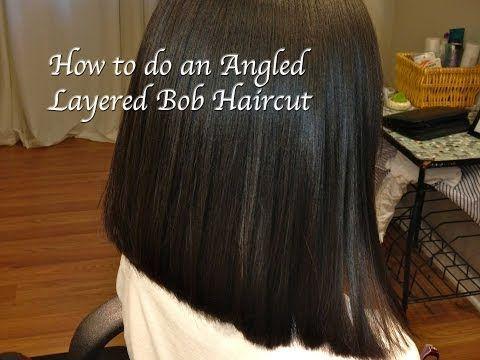 Layered Angled Bob Haircut, Locks of Love, (Hair Tutorial) Long to Short, Thick, Course Hair - YouTube