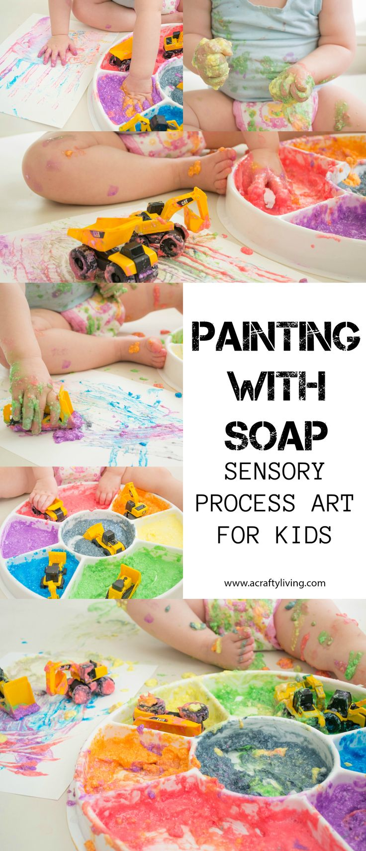 Painting with Soap - Sensory Process art for Toddlers & Preschoolers! www.acraftyliving.com