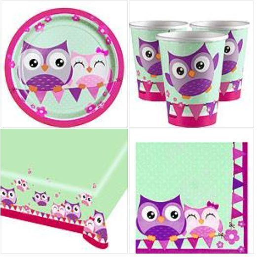 OWL BIRTHDAY PARTY TABLECLOTH PLATES CUPS NAPKINS GREEN PINK PURPLE GIRLS PRETTY in Home, Furniture & DIY, Celebrations & Occasions, Party Supplies | eBay