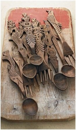 Nice collection of hand carved utensils