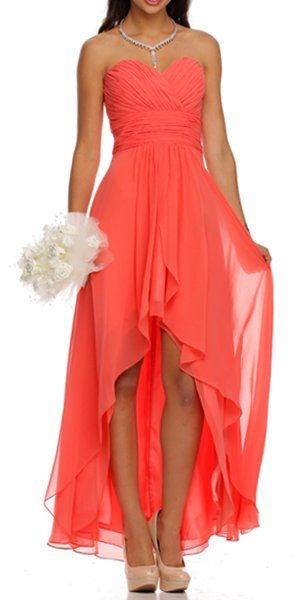 High Low Ruched Bodice Strapless Layered Coral Bridesmaid Dress