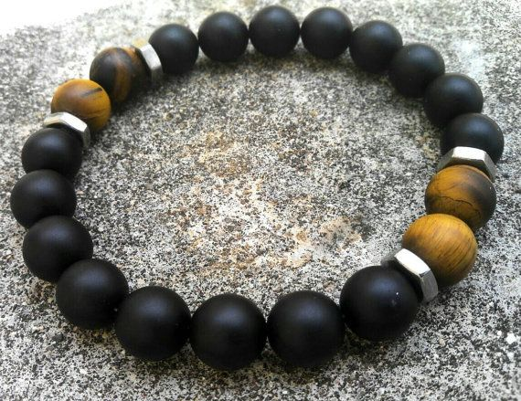 Mens Strength Bracelet Matte Black Onyx Bracelet Yellow Tiger Eye Bracelet Stretch Bracelet Hex nuts Bracelet Mala Bracelet Mens Gifts