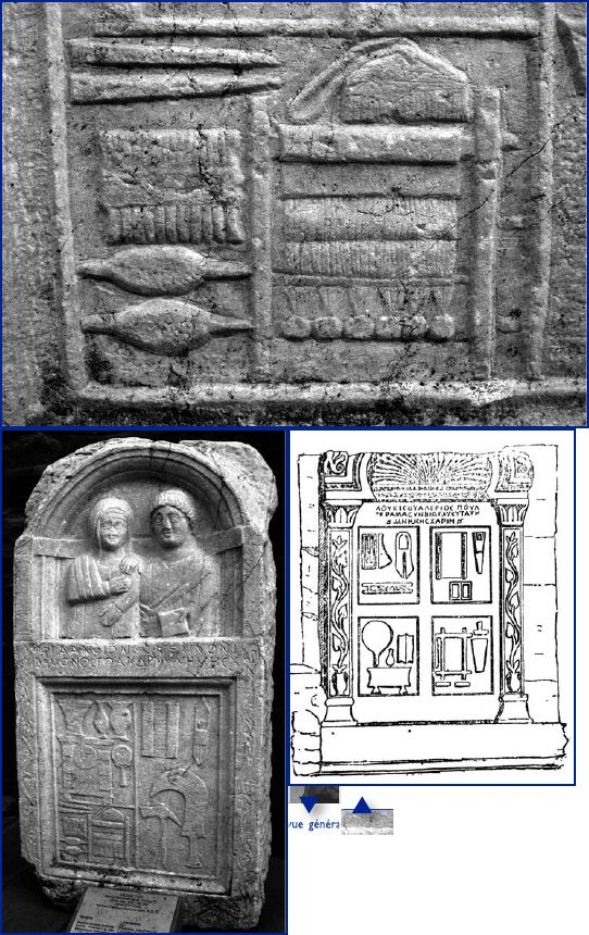 Roman era warp weighted loom on funerary stele, depicting loom, spindles, comb, etc.