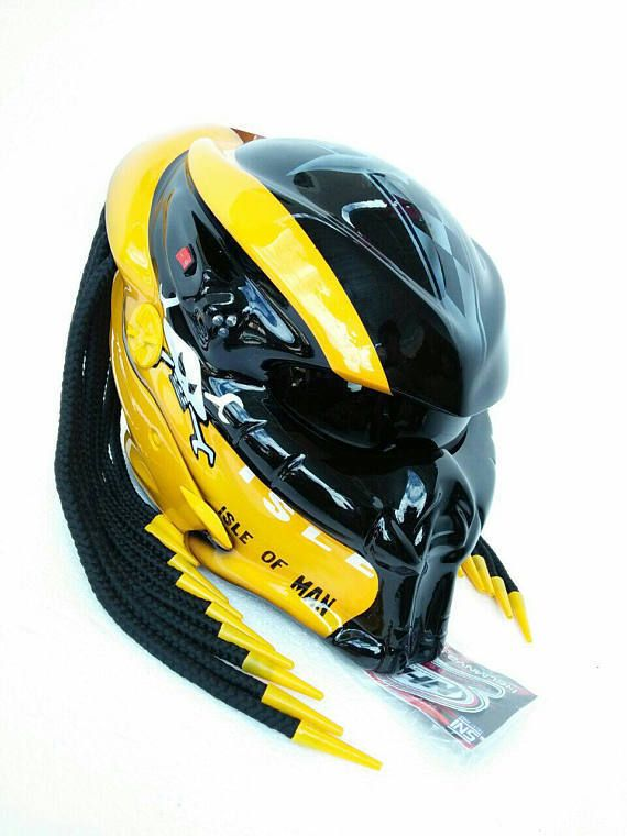 PREDATOR HELMET CUSTOM BLACK YELLOW MOTORCYCLE (approved DOT) SIZE M ... 1efec31be5bb7
