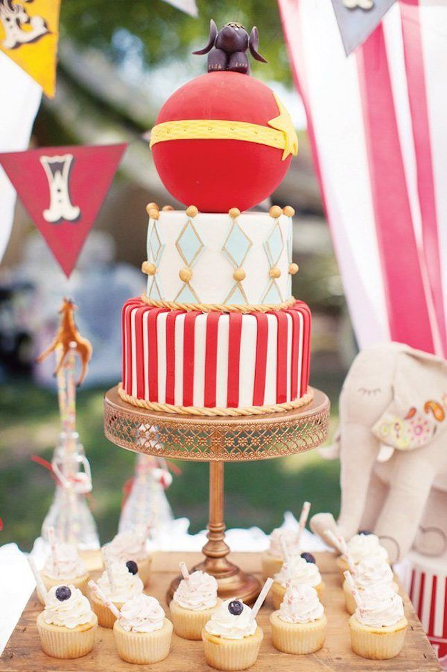 How cute is this circus-themed cake?!