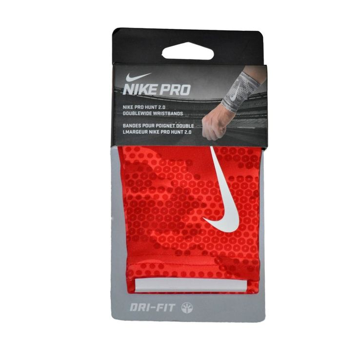 NIKE Pro Hunt 2.0 Doublewide Wristbands Red/Camouflage Unisex OSFM 1 Pair #Nike