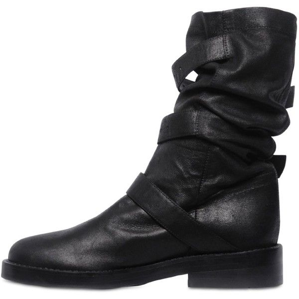 ANN DEMEULEMEESTER 30mm Buckled Nappa Leather Boots (€1.370) ❤ liked on Polyvore featuring shoes, boots, ann demeulemeester, small heel boots, ann demeulemeester boots, buckle shoes and short heel shoes