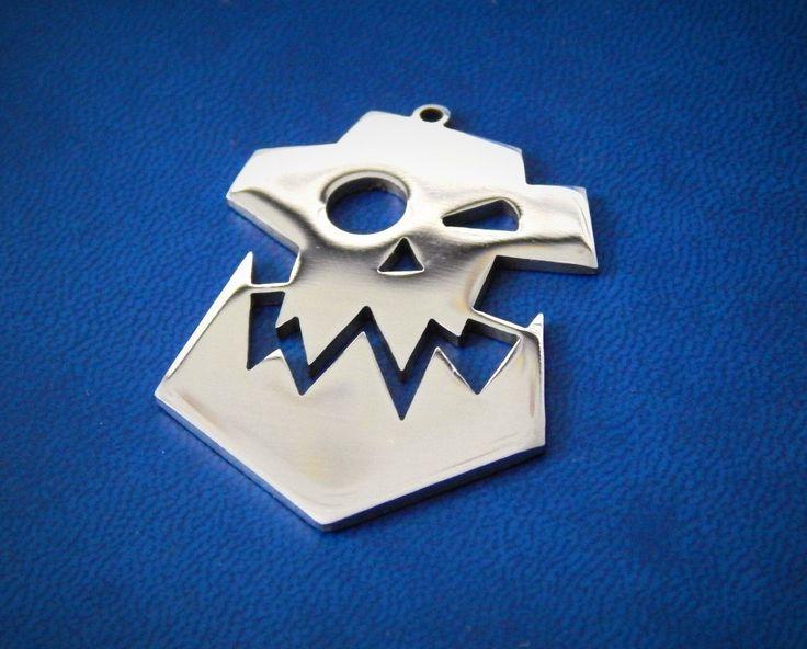 Warhammer 40k Ork necklace or keychain stainless steel / Warboss Ork Skull pendant / Warhammer cosplay / Warhammer 40000 / orkz…