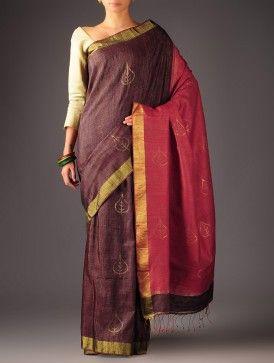Red-Burgundy Tussar Silk Jamdani Boota Saree