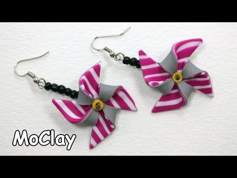 How to make DIY Pinwheel earrings - Polymer clay tutorial - YouTube