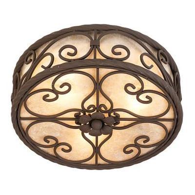 """Mediterranean Dark Walnut Natural Mica Collection 12"""" Wide Ceiling Light Fixture   eBay"""