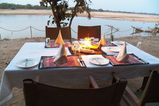 Private dinner on the bank of Luangwa River