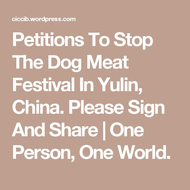 Petitions To Stop The Dog Meat Festival In Yulin, China. Please Sign And Share | One Person, One World.
