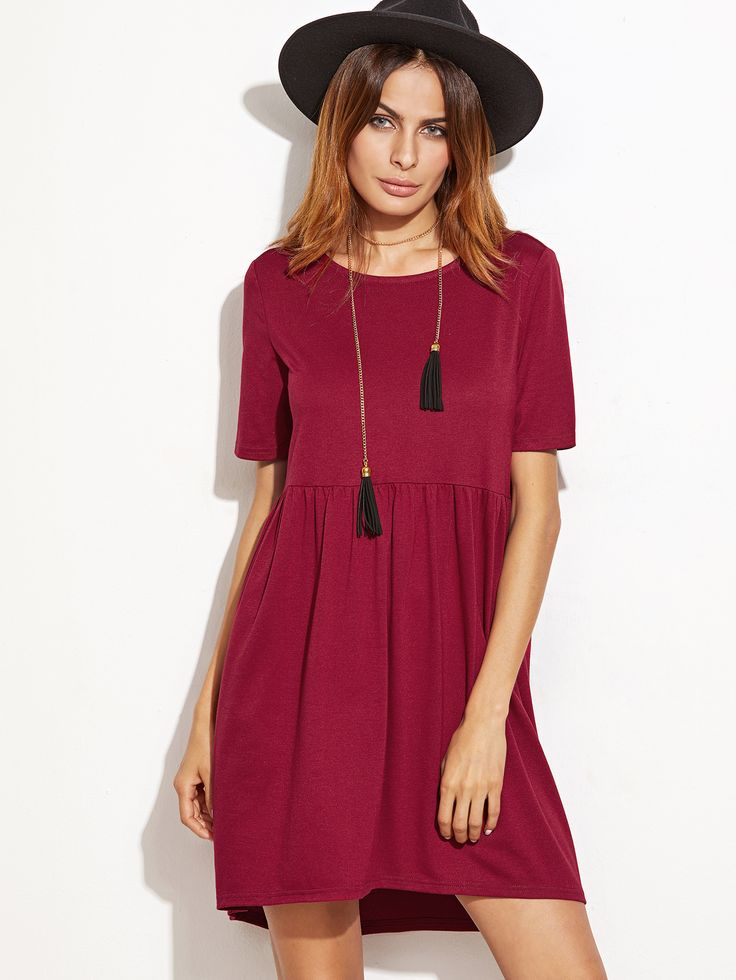 Shop Burgundy Short Sleeve High Low Babydoll Dress online. SheIn offers Burgundy Short Sleeve High Low Babydoll Dress & more to fit your fashionable needs.