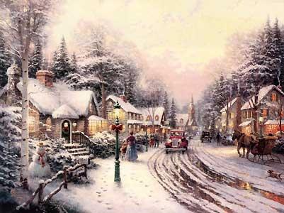 Village Christmas - Thomas Kinkade - World-Wide-Art.com - $280.00 #Kinkade