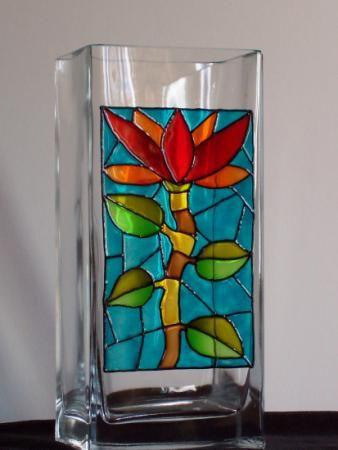 071-dc jarron jarron cristal,pintura vitrail,cloisonne pintura s/cristal,