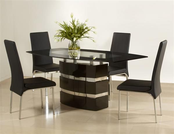 Dining Table Board Black Glass Pu 8016