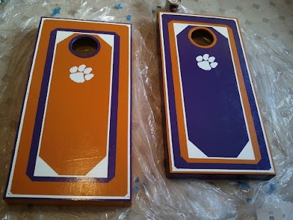 Handpainted Clemson cornhole boards! Next project for daddy and me.