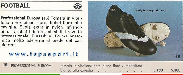 DAL CATALOGO ANNI '70 La Tepa Sport Professional Europa, da 5.150 lire ... ⚽️ C'ero anch'io ... http://www.casatepa.it/  Made in Italy dal 1952