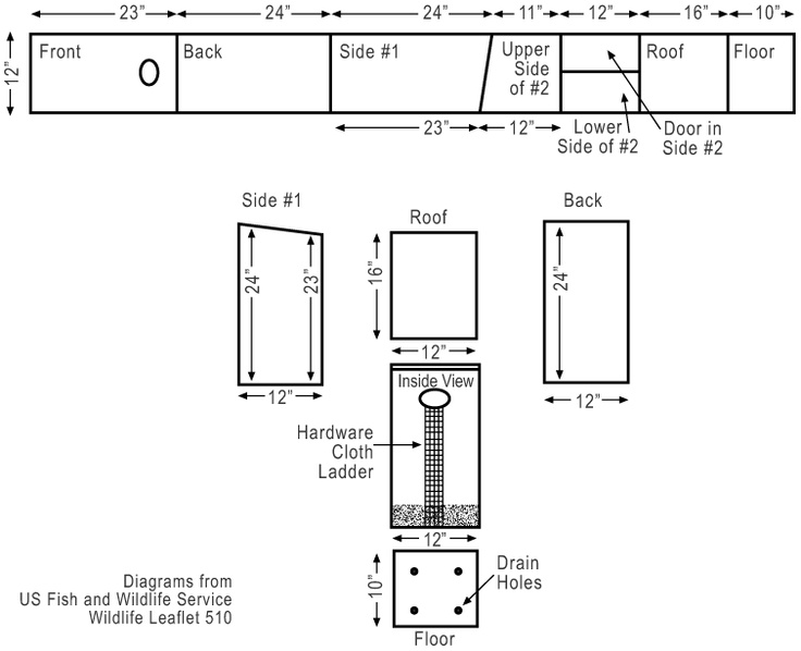 Plans for wood duck nest box using a 10 long 1 x 12 board