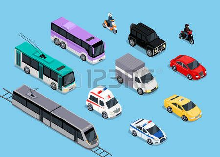 police motorcycle: Isometric 3d transport set flat design. Car vehicle, transportation traffic, truck van, auto cargo, bus and automobile, police and motorcycle illustration Illustration
