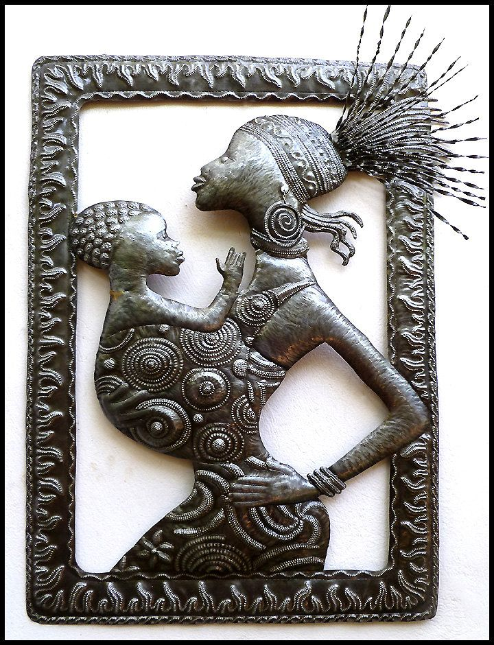 African Mother Baby Metal Wall Hanging Ethnic Art Haitian Steel Drum Metal Wall Art Metal Home Decor African Art X By Haitimetalart