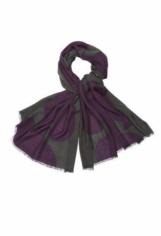 MARIMEKKO JOKERI SCARF GREEN, PLUM  #abstract #organic #scarf #accessories #plum #olive #green #olivegreen #purple #marimekko #pirkkoseattle #pirkkofinland