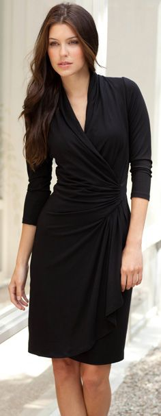 With a sleek, flattering silhouette, this cascade wrap dress is as versatile as it gets. Long sleeves and a chic wrap-style front make it perfect for work, after hours, and weekends. This dress will become a constant classic you will reach for time and again.                                                                                                                                                                                 More