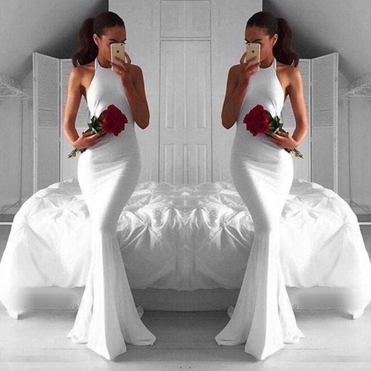 Prom Dress, Modern White Mermaid Long Prom Dresses - Halter Sleeveless Ruched , chiffon Formal Dress, Sexy Gril Dress, Floor-Length Prom Dresses, Backless Evening Dress, Custom Dress