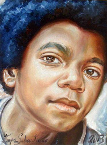 Ritratto di Michael Jackson - Quadro Olio su Tela 30X40 - Sebastiano Topo