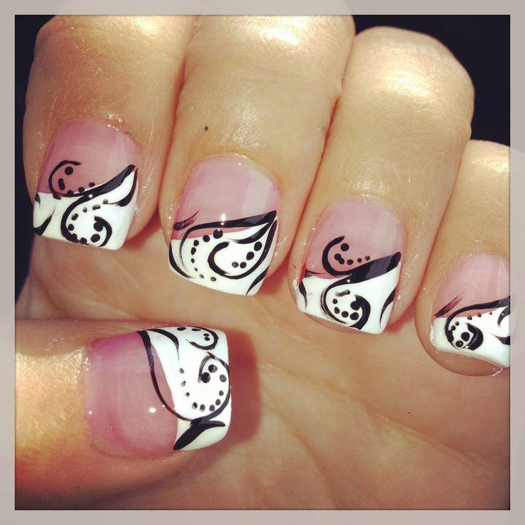Black and White Nail Art Design... Love this!!!