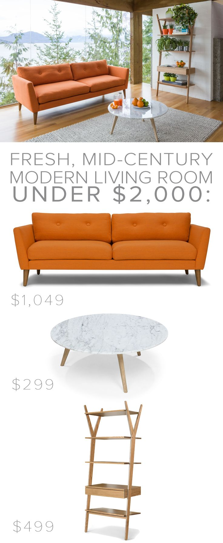 EMIL 'Papaya Orange' sofa // MARA 'Oak + Marble' coffee table // LIGNUM 'Solid Oak' shelving unit