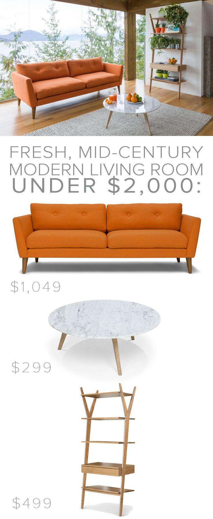EMIL 'Papaya Orange' sofa // MARA 'Oak + Marble' coffee table // LIGNUM 'Solid Oak' shelving unit