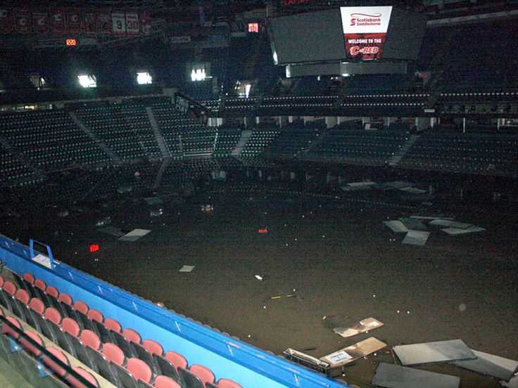 The Calgary Flames say everything below the eighth row in the Saddledome is ruined by flooding.