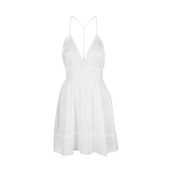TopShop Smock Tassel Sundress (50 AUD) ❤ liked on Polyvore featuring dresses, white, topshop dresses, v neck sundress, white smocked dress, v-neck dresses and rayon dress