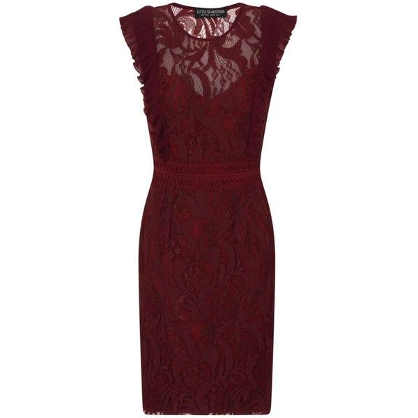 **Little Mistress Maroon Lace Bodycon Dress ($110) ❤ liked on Polyvore featuring dresses, brown, red bodycon dress, body con dress, brown bodycon dress, red dress and lace body con dress
