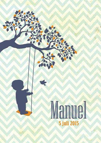 Geboortekaartje Manuel - Pimpelpluis - https://www.facebook.com/pages/Pimpelpluis/188675421305550?ref=hl (#jongen - schommel - boom - vogel - retro - vintage - silhouet - lief - origineel)