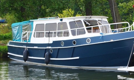 boat Barkas Europa 900 charter Poland Inland Waterways Masurian Lake District rent motorboat boats