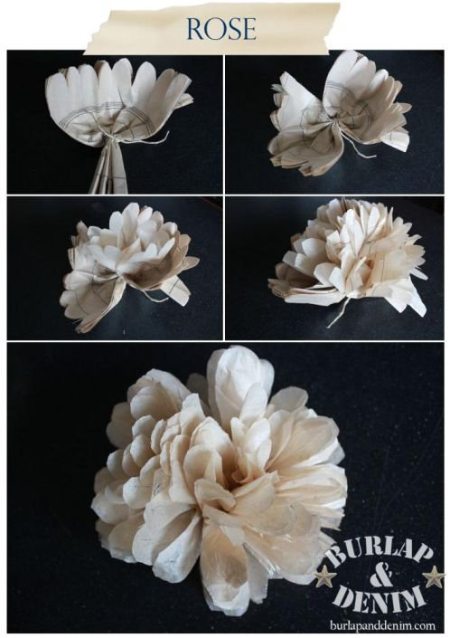 Tissue Paper Flowers Tutorial. DIY Lots of places to see these, but she does a really good tutorial using Sewing Pattern Tissue for the Flowers
