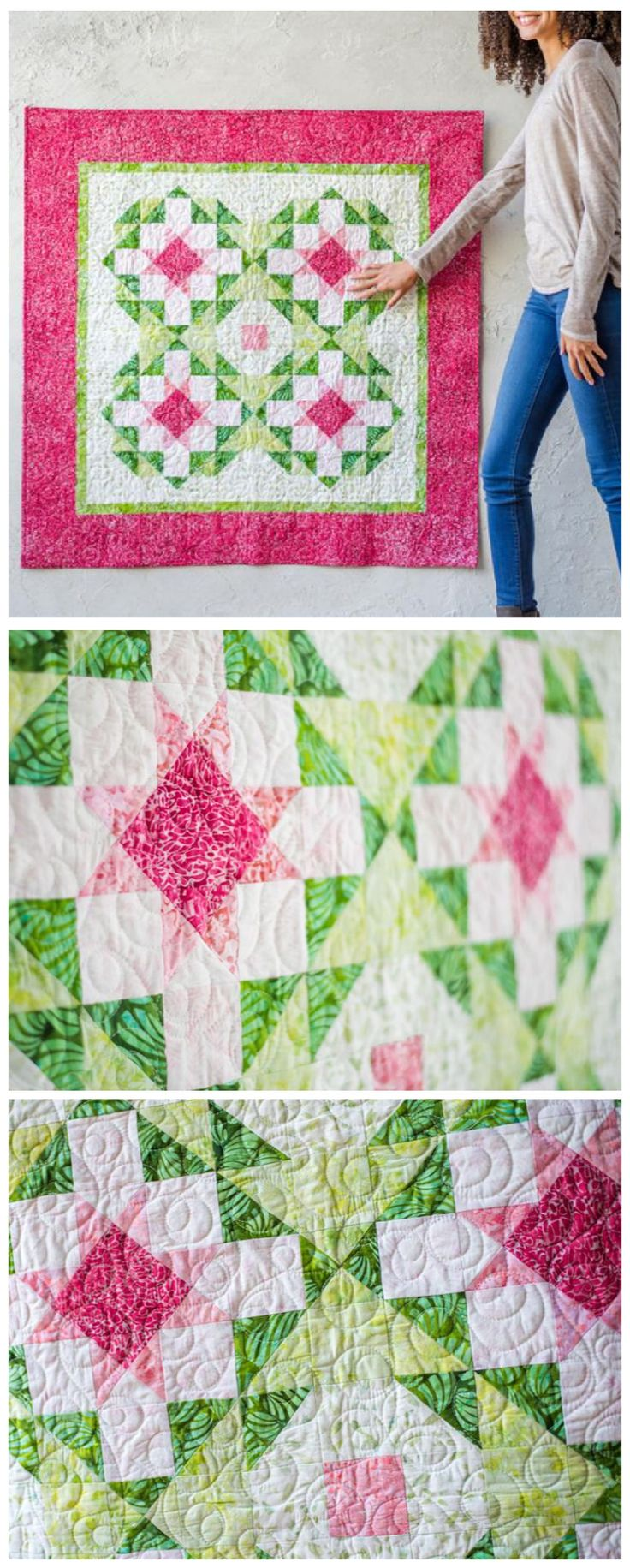Sweet Treat Quilt kit by Craftsy.  | This delightful wall hanging comes together easily with half-square and   quarter-square triangle units. Add a few simple borders, and voila!   You'll be ready to brighten up your home. The Sweet Treat kit features   gorgeous Boundless Batiks, and comes with all the fabrics you'll need to   complete the quilt top and binding.  This is an affiliate link.