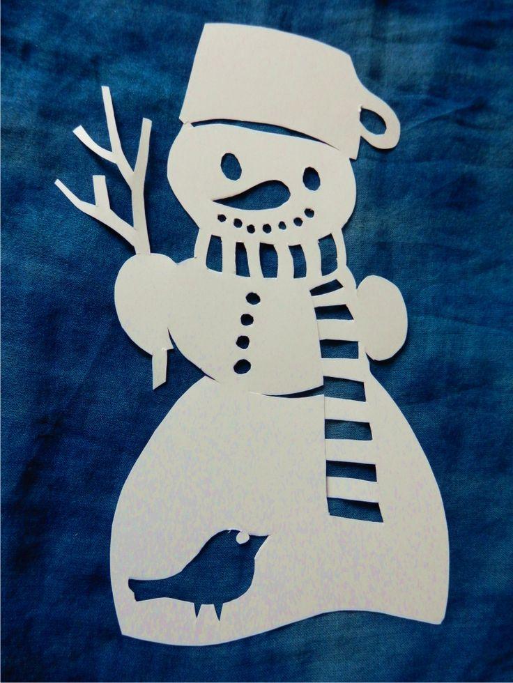 Sněhulák - vystřihovánka do okna   šablony, vystřihování na okno ...