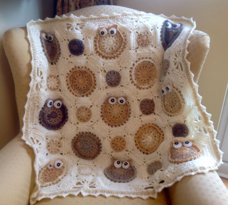 Excited to share the latest addition to my #etsy shop: Handmade Crochet owl baby blanket  / baby throw / pram blanket  -in creams / beige and fawns  / owl obsession blanket