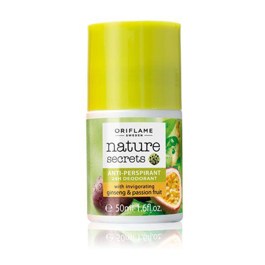 Desodorante Roll-On Antitranspirante 24H Estimulante con Ginseng y Maracuyá Nature Secrets (26444) Fresco desodorante antitranspirante de secado rápido con revitalizante aroma de Ginseng y Maracuyá.