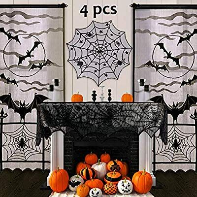 Pawliss Halloween Decorations Indoor, Black Lace Party Decor, Bat Window Curtain…