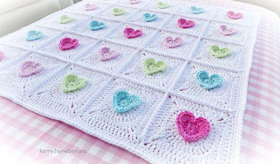 CROCHET PATTERN  All Heart Blanket Crochet by KerryJayneDesigns