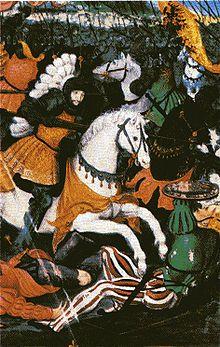 François Ier à la bataille de Marignan.- Ces efforts rapides sont récompensés car ils provoquent une très grande surprise. Dans la plaine du Piedmont, une partie de l'armée Suisse prend peur et propose, le 8 septembre à Gallaratte, de passer au roi de France.