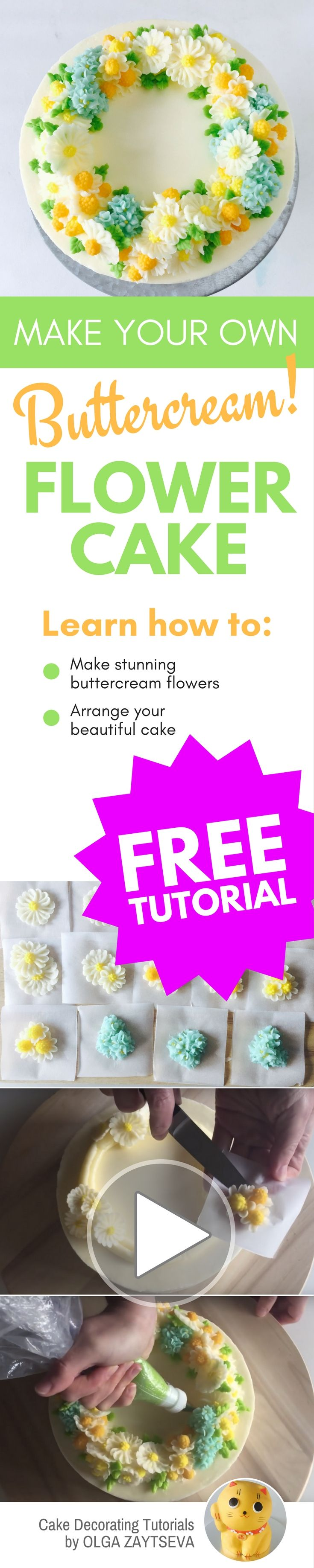 How to make Buttercream Camomile Flower Wreath cake - Cake decorating tutorial by Olga Zaytseva. Learn how to pipe tiny camomiles and hydrangeas and assemble a buttercream flower wreath cake. #cakedecorating #cakedecoratingtutorial #buttercreamflowercake #buttercreamflowers
