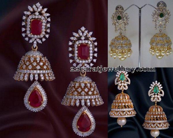 Diamond Jhumkas by Vasundhara Jewellers | Jewellery Designs