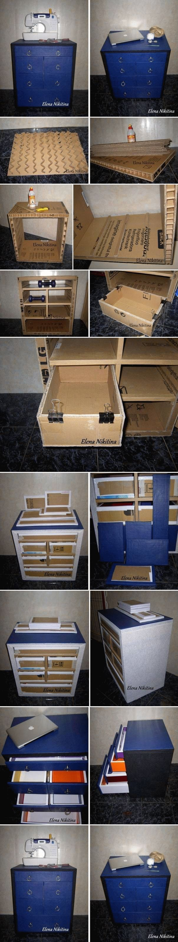 879 best furniture diy images on pinterest cardboard furniture diy cardboard chest with drawers gaveteiro feito de papelo solutioingenieria Images