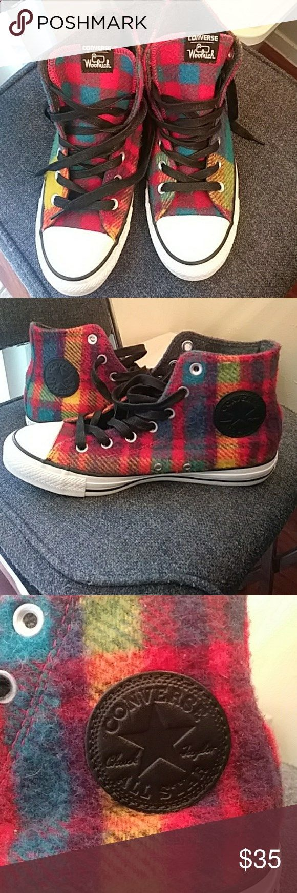 CONVERSE HI-TOPS - IN WOOLRICH WOOL MULTI-COLORED CONVERSE HI-TOPS - IN WOOLRICH WOOL MULTI-COLORED PLAID MENS OR WOMENS ATHLETIC/CASUAL SHOES WOOL UPPERS AND RUBBER SOLES MENS size 6 /WOMENS SIZE  IN EXCELLENT PRE-OWNED CONDITION - THESE HAVE BEEN MINIMALLY WORN  Converse Shoes